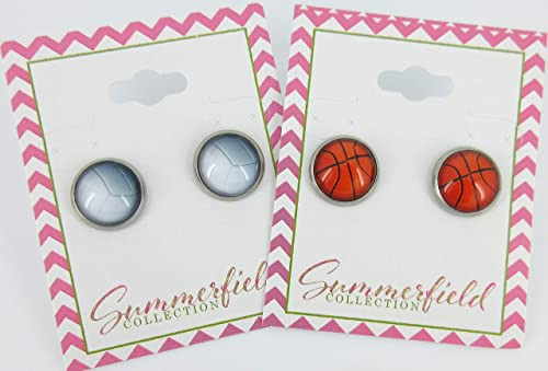 Stainless Steel Volleyball Print Glass Stud Earrings 12mm
