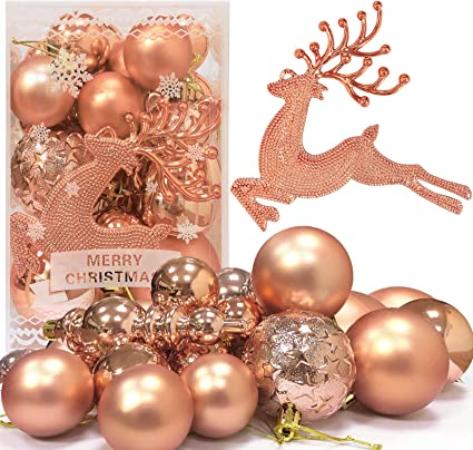 Eynoca Christmas Baubles 30pcs Rose Gold Oh Deer Shatterproof Hanging Christmas Tree Balls Ornaments Set For Christmas Holiday Festival Home Party Wedding Decor Amazon Co Uk Kitchen Home