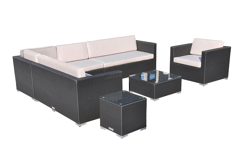 VILLANA exklusive Loungegruppe aus hochwertigem Polyrattan in schwarz, Kaffeetisch mit Glasplatte 65 x 65 x 30 cm, inkl. Polster, Gartenlounge für 7 - 8 Personen, Sessel, Couch, Hocker, wetterfest