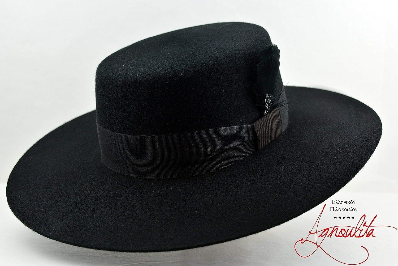 Amazon.com  The Dress Bolero - Wool Felt Flat Crown Bolero Hat - Wide Brim  - Men Women  Handmade 88d589d4cf0c