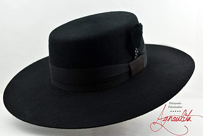 48fe3a42a14e7 Amazon.com  The Dress Bolero - Wool Felt Flat Crown Bolero Hat - Wide Brim  - Men Women  Handmade