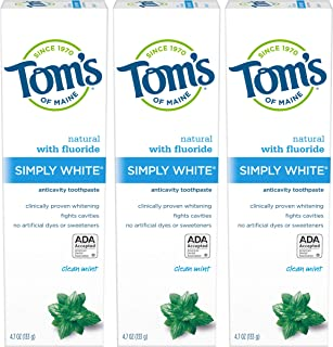 product image for Tom's of Maine Simply White Natural Toothpaste, Whitening Toothpaste, Natural Toothpaste, Clean Mint, 4.7 Ounce, 3-Pack