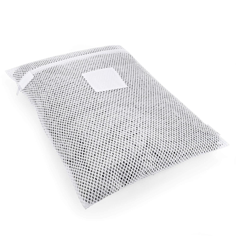 HANGERWORLD White Mesh Polyester Netting Laundry Bag 24inch x 17.5inch Zip Fastening Washing Machine Tumbler Dryer