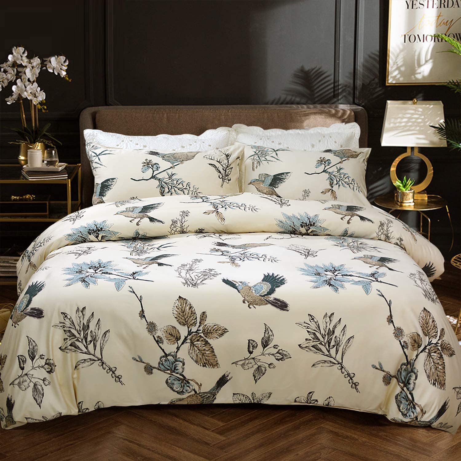 Softta Floral Birds Bedding American Country Chic Queen 3 Pcs Leaves Bird Duvet Cover Bamboo Fiber + Egyptian Cotton 800 Thread Count Super Soft Hypoallergenic for Naked Sleep Khaki