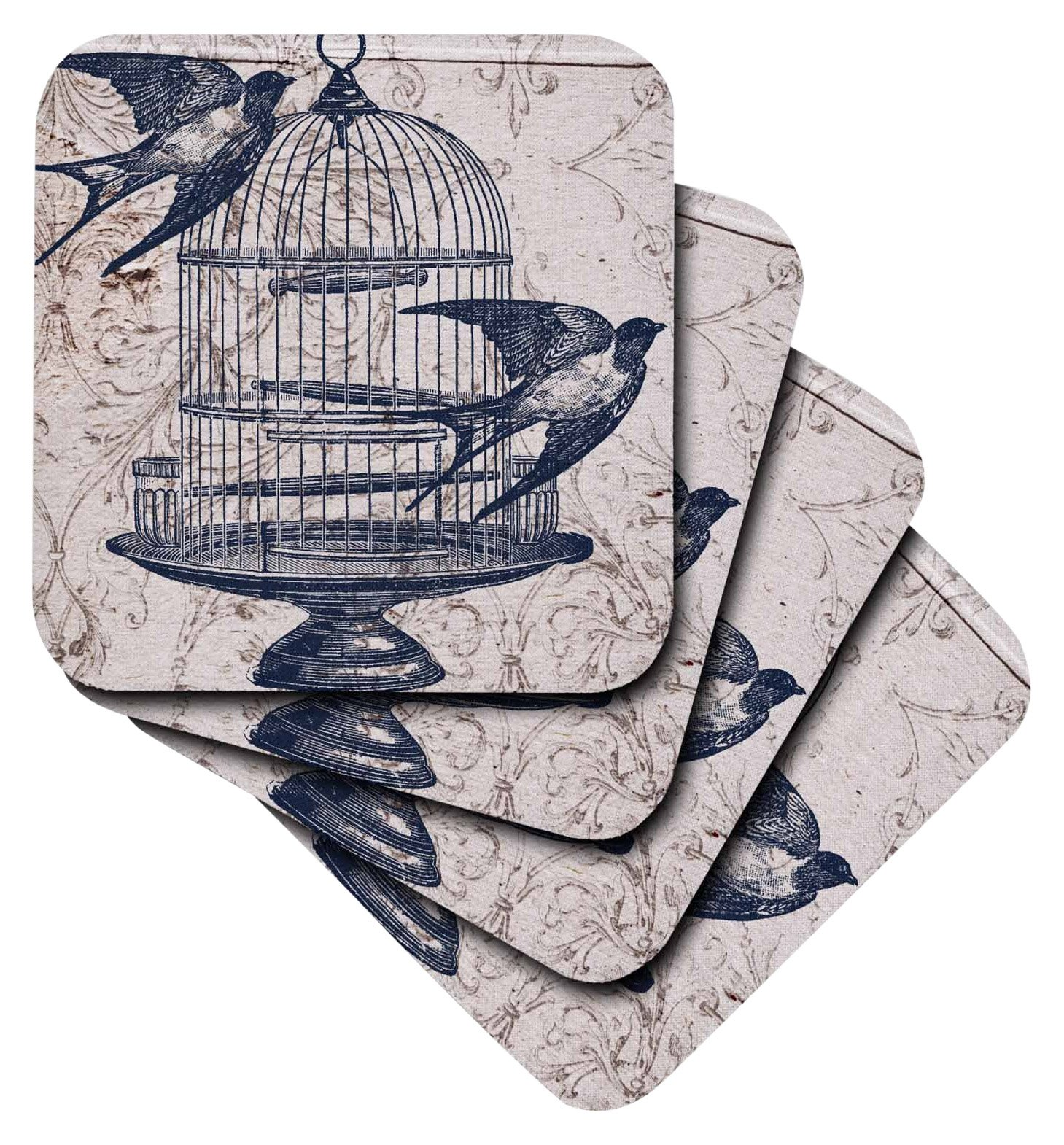 3dRose Vintage Birds with Bird Cage Steampunk Art - Ceramic Tile Coasters, Set of 4 (CST_110264_3)