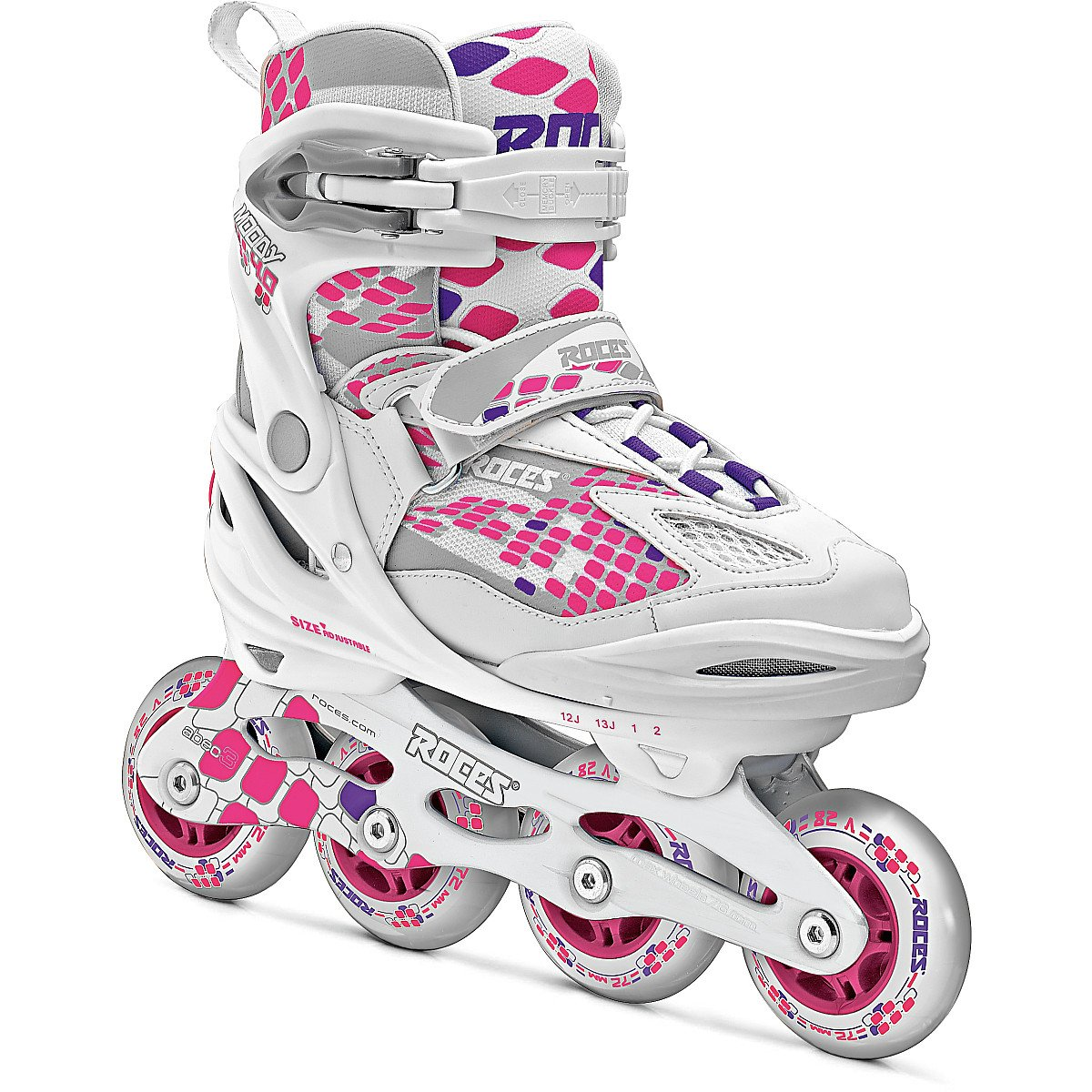 Roces 400793 Women's Model Moody 4.0 Adjustable Inline Skate, US 4-7, White/Pink Lightning by Roces