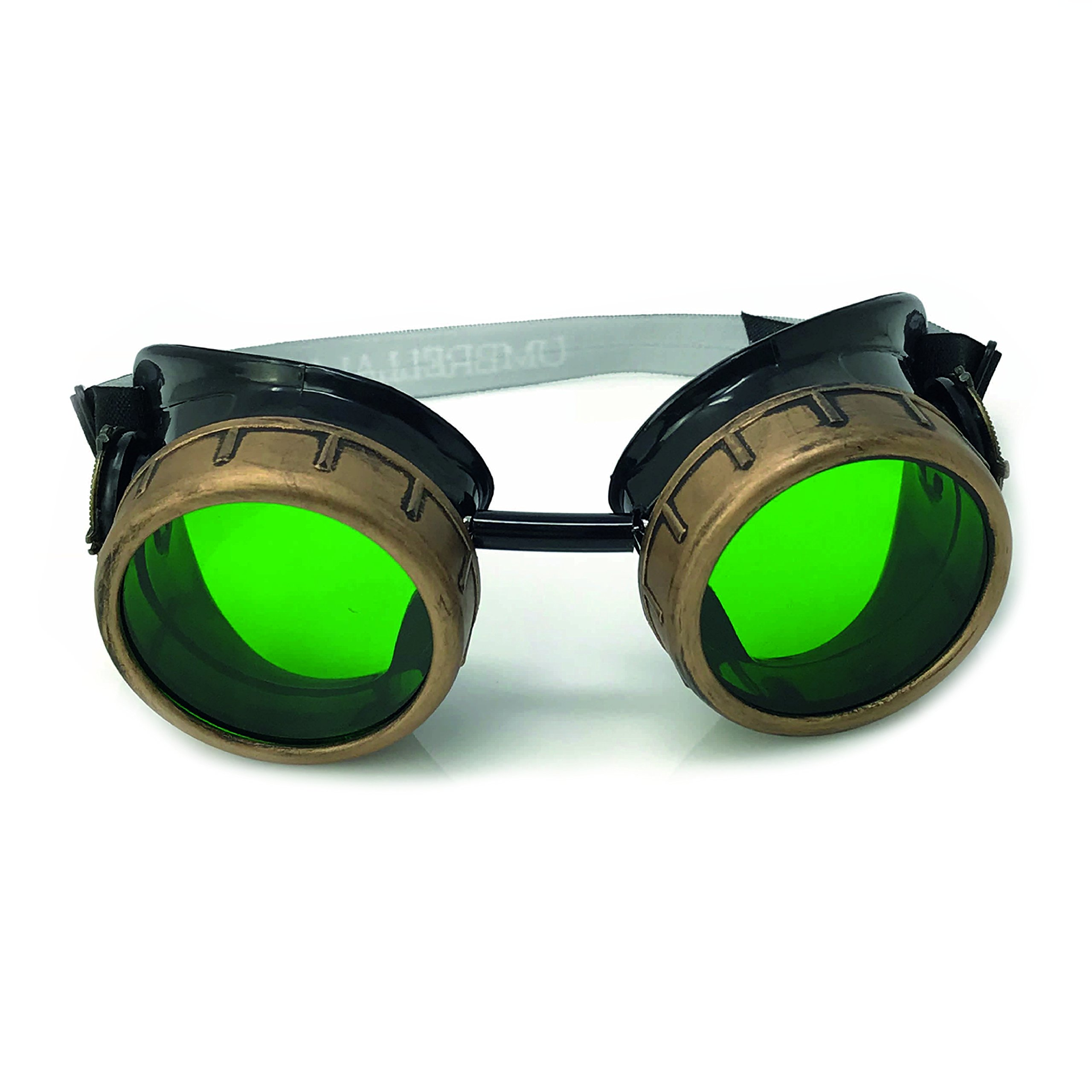 UMBRELLALABORATORY Steampunk Victorian Style Goggles with Compass Design and Colored Lenses