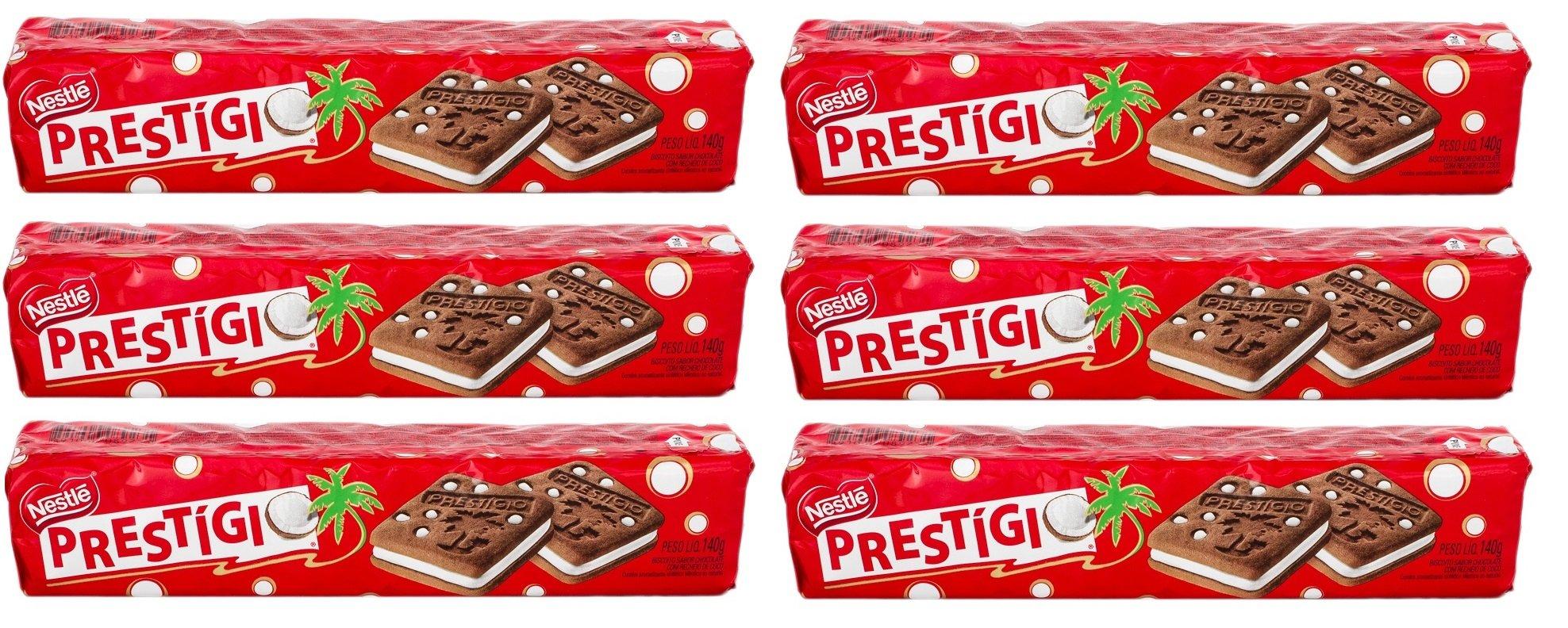 Prestigio Galleta sabor Chocolate Relleno de Coco 140 gr./Chocolate Cookie Filled w/Coconut 4.93 oz. - 6 Pack.