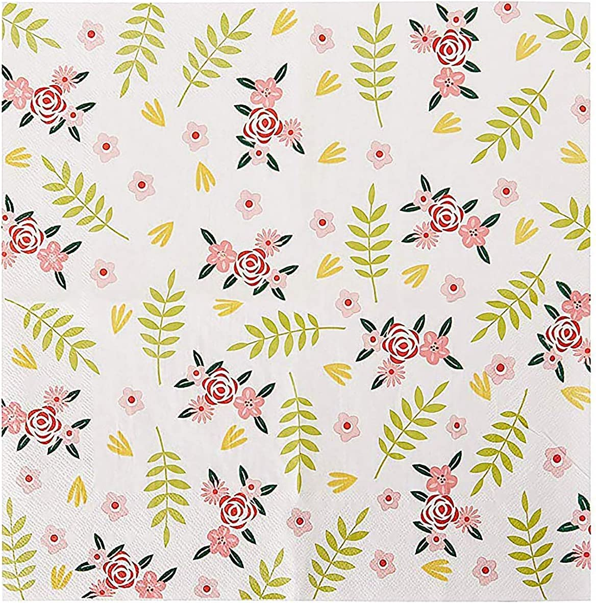 Floral Paper Napkins Bridal Shower Tea Party Napkins 6 5 Inches 100 Pack Kitchen Dining Amazon Com