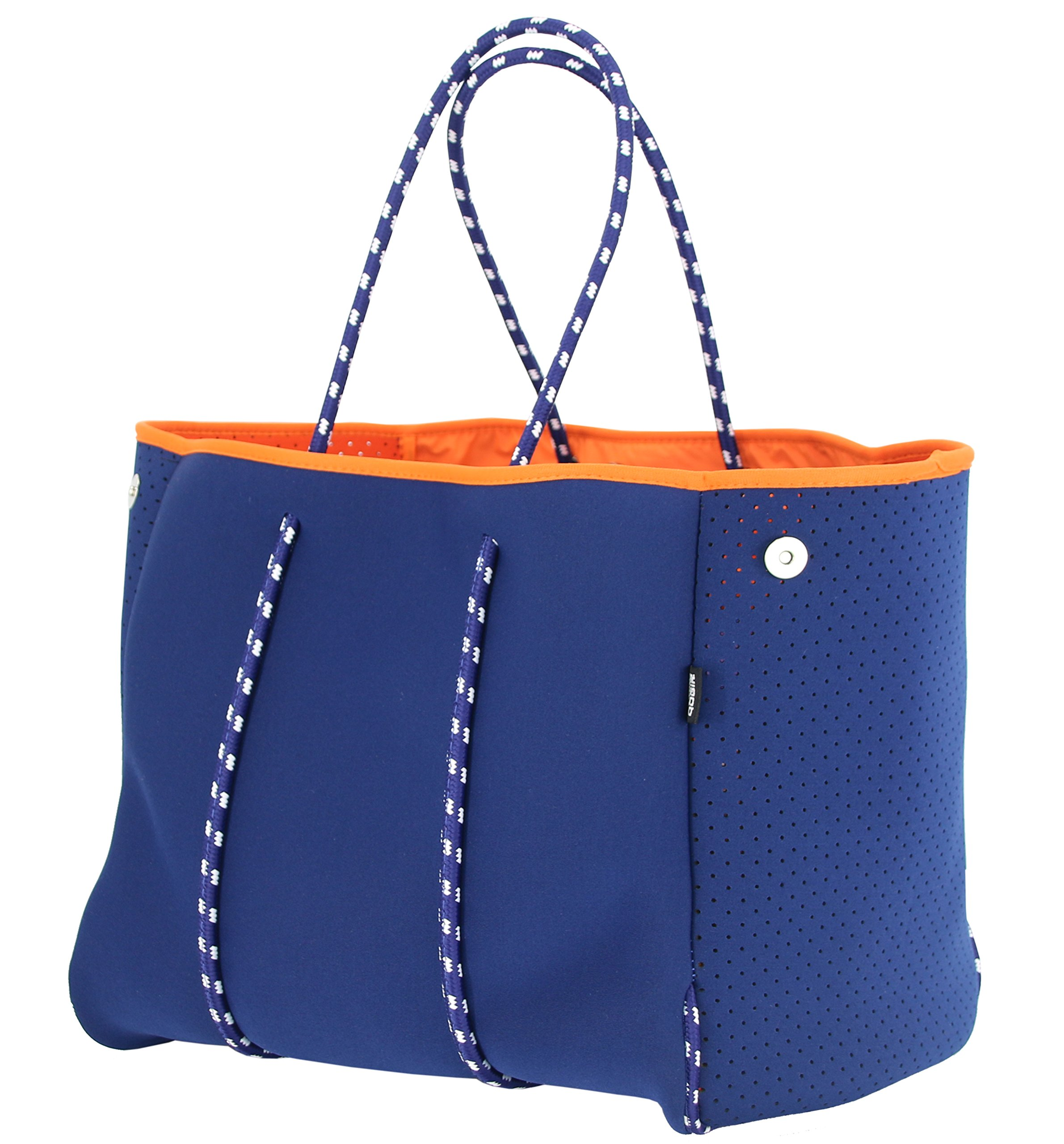 QOGiR Neoprene Multipurpose Beach Bag Tote with Inner Zipper Pocket and Movable Board (Large Dark Blue)