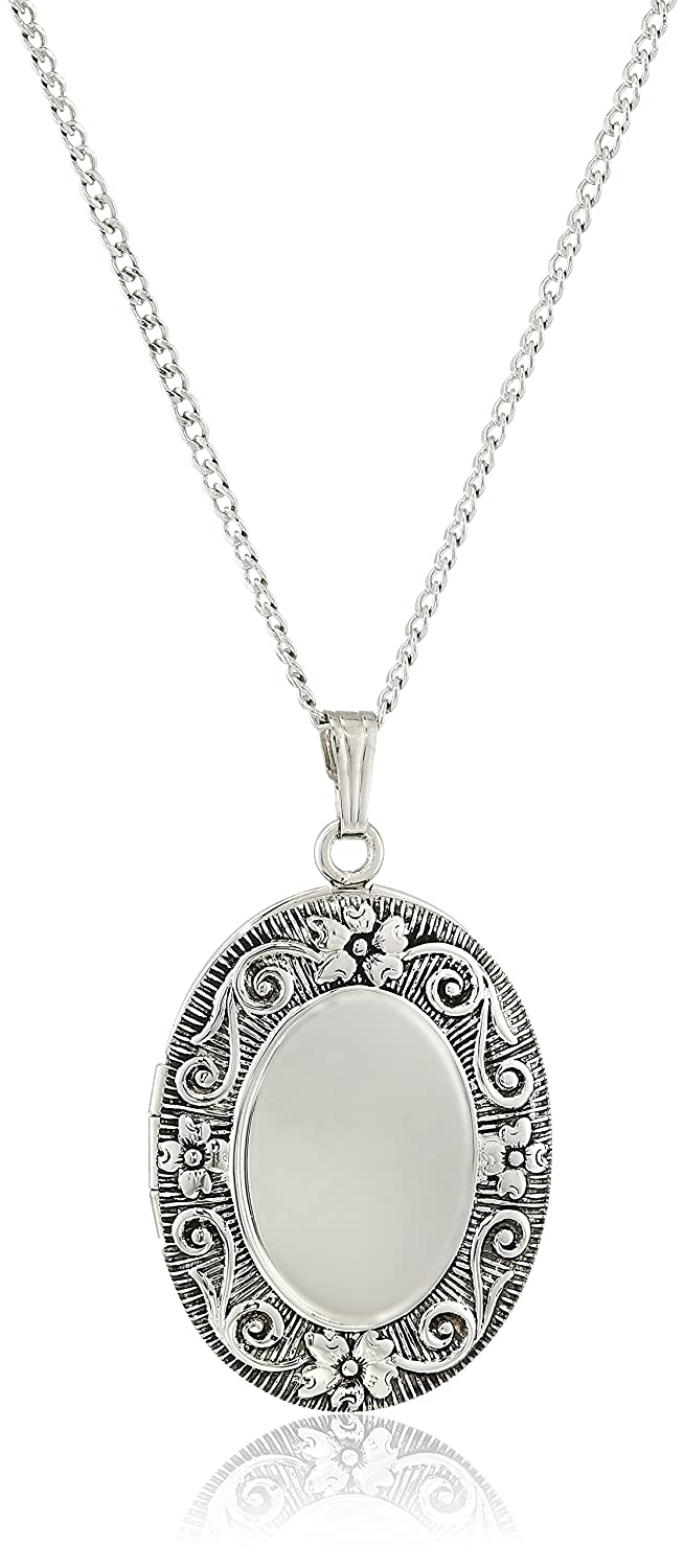 Sterling Silver Antique-Finish Embossed Oval Locket Necklace Amazon Collection AMZ792F