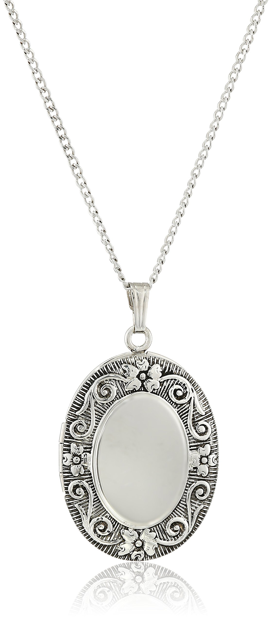 Sterling Silver Antique-Finish Embossed Oval Locket Necklace