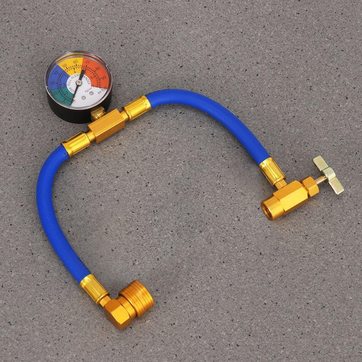 1//2 kit de Mesure de Recharge pour Robinet Orville Jauge de Pression de climatisation R134A pour Voiture AC Air conditionn/é Kit de Tuyau de Recharge avec jauge