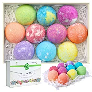 habibee 10 Pack Bath Bombs 2.5oz with Plant Essential Oil and Sea Salt Handmade Bath Bomb for Dry Skin Moisturize & Fizzies Bubble Bath Perfect Christmas and Birthday Gifts for Women, Men, Kids