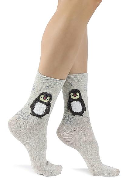 Mixmi Boutique Calcetines tobilleros grises, pingüino polar esponjoso con copos de nieve: Amazon.es: Ropa y accesorios