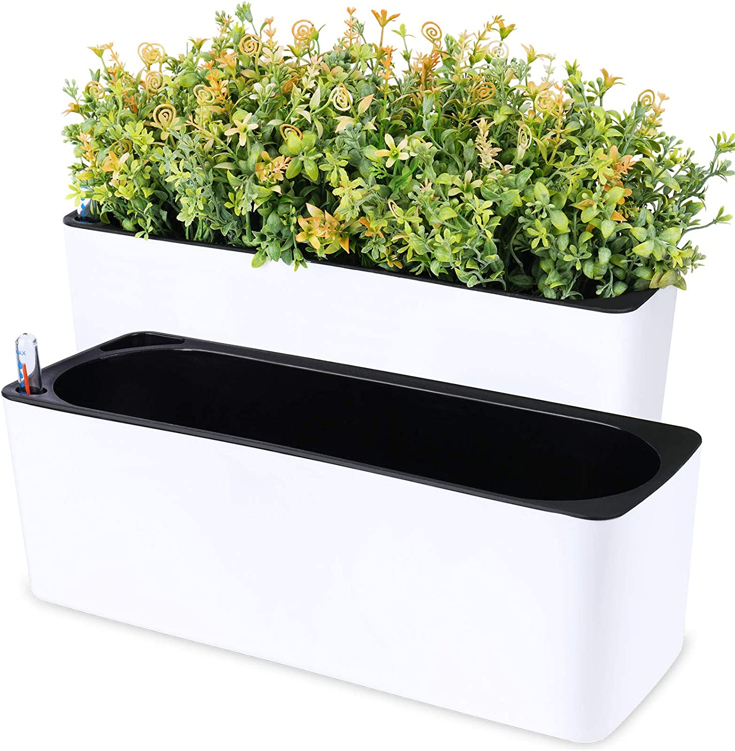 NiHome 2-Pack Self-Watering Planter Set Rectangle Worry-Free Water Inlet Water Gauge Indicator Observation Window Drainage Plug 2-Layer Separation Home Garden Decor Green Plants Herbs Vegetables Attom