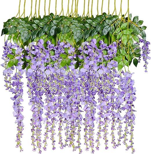 Amazon Com Artiflr 8pcs Artificial Flowers Silk Wisteria Vine