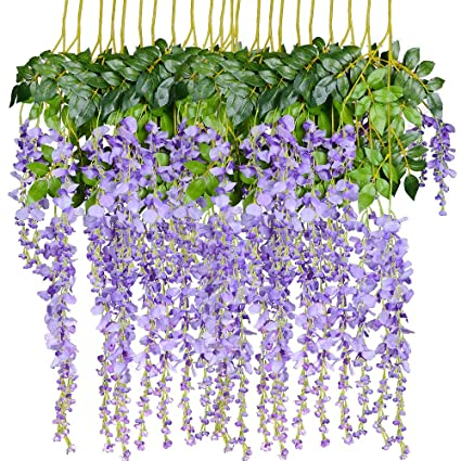 Amazon Artiflr 8pcs Artificial Flowers Silk Wisteria Vine Ratta
