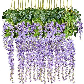 460f74b141b 12 Pack 1 Piece 3.6 Feet Artificial Fake Wisteria Vine Ratta Hanging  Garland Silk Flowers String Home Party Wedding Decor (Purple 2)