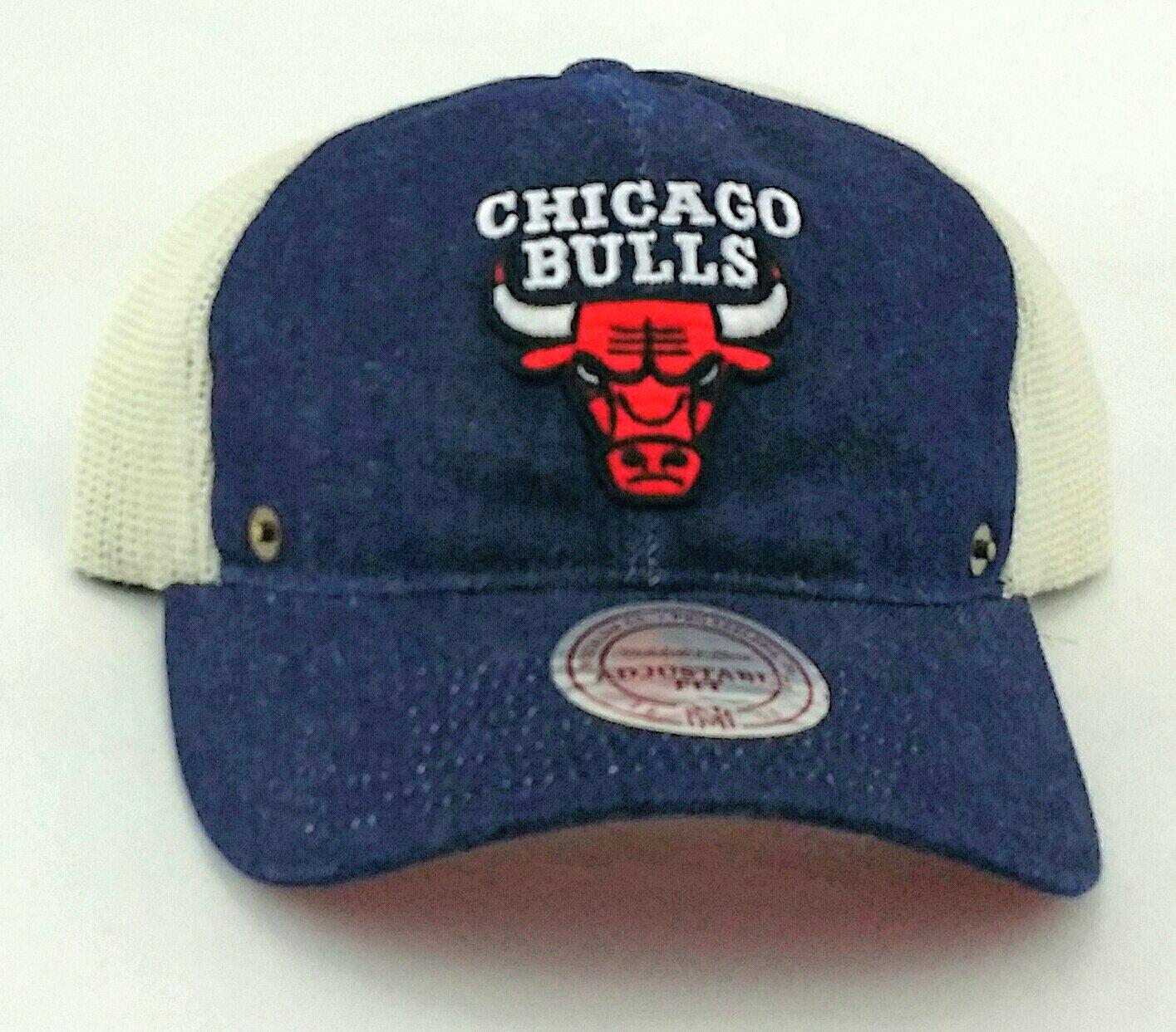 f9108449b5d ... get amazon chicago bulls new mitchell ness denim blue mesh trucker dad  era snapback hat cap