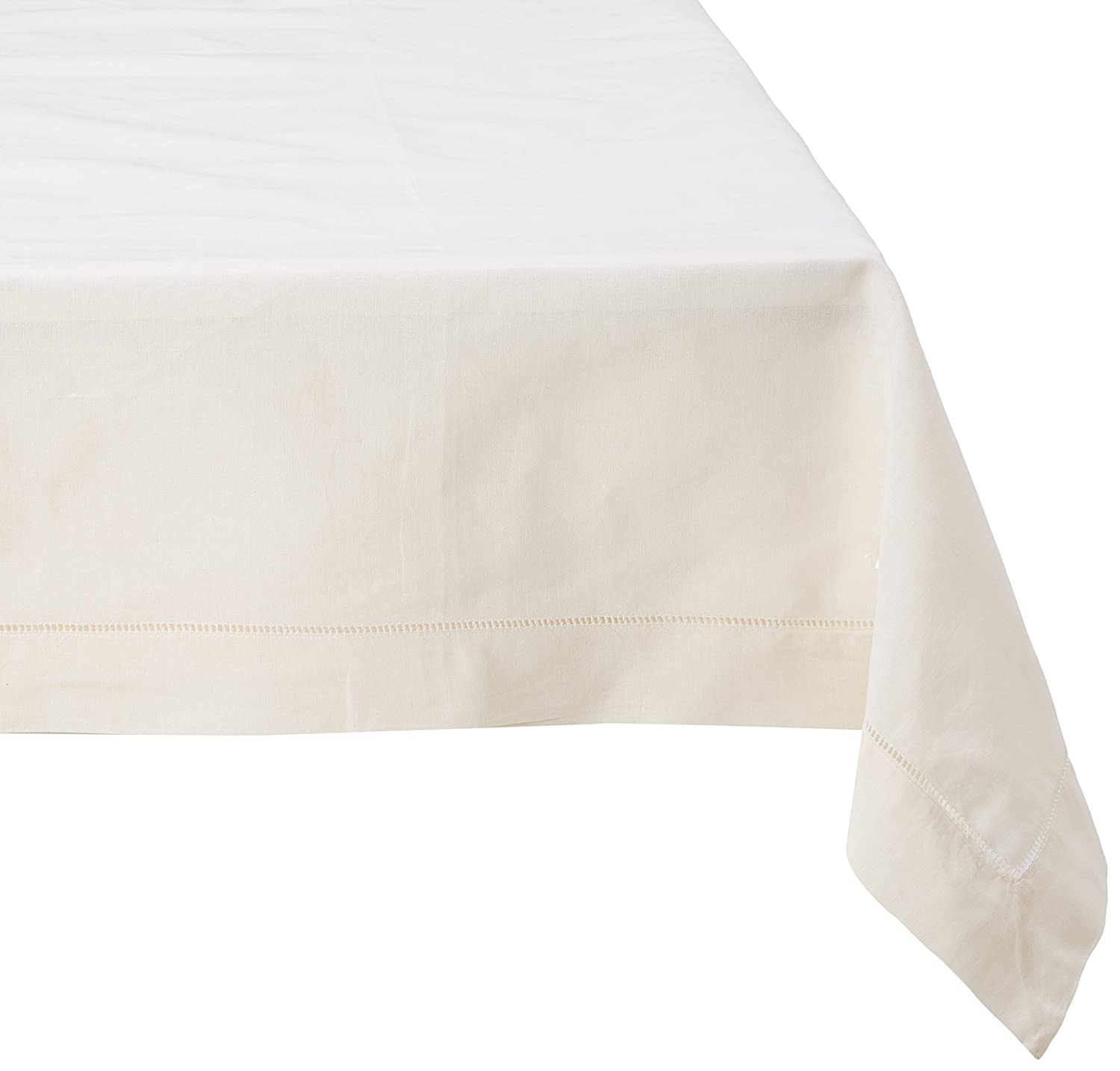 SARO LIFESTYLE 6100.E72S Hemstitched Cotton and Linen Tablecloth Ecru 72 72