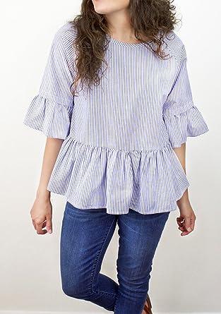 62f6126660796f Listicle Women s Striped Ruffle Sleeve Peplum Top Large Blue Stripe ...