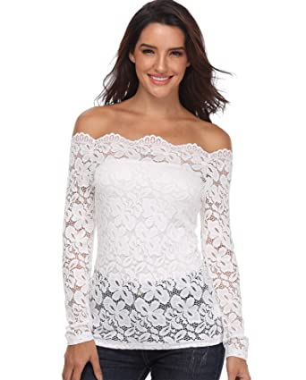 487a8788 MISS MOLY Ladies Tops Womens Blouse Sexy Off Shoulder Shirt Fashion Floral  Lace Long Sleeves Casual Strapless Tunics Slim Twinset with Matching Tube:  ...