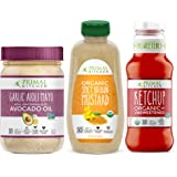Primal Kitchen Condiment Dipping Kit - Contains Avocado Oil Garlic Aioli Mayo, Organic Unsweetneed Ketchup, and Organic Spicy Brown Mustard, Whole 30 Approved - 3 Bottles