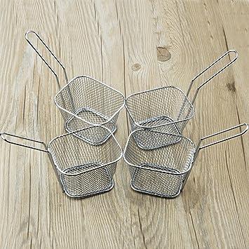 8pcs Mini cromo Chip cesta de la freidora cesta de servir la comida Bar restaurante Chips: Amazon.es: Hogar