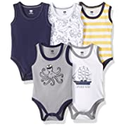 Hudson Baby Sleeveless Cotton Bodysuits, 5 Pack, Little Surfer, 9-12 Months (12M)
