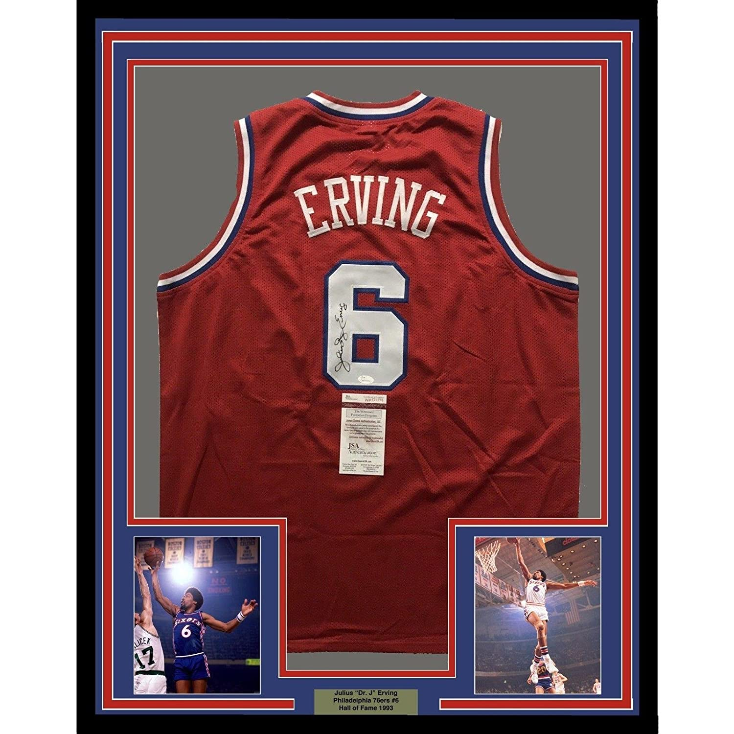 51bb2ce3485 Amazon.com  Julius Erving Autographed Jersey - FRAMED DR J 33x42 Sixers Red  COA - JSA Certified - Autographed NBA Jerseys  Sports Collectibles