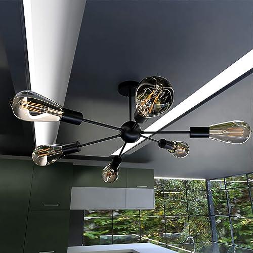 TURBO SII Bulb Included 6-Light Sputnik Chandelier Black Light Fixtures