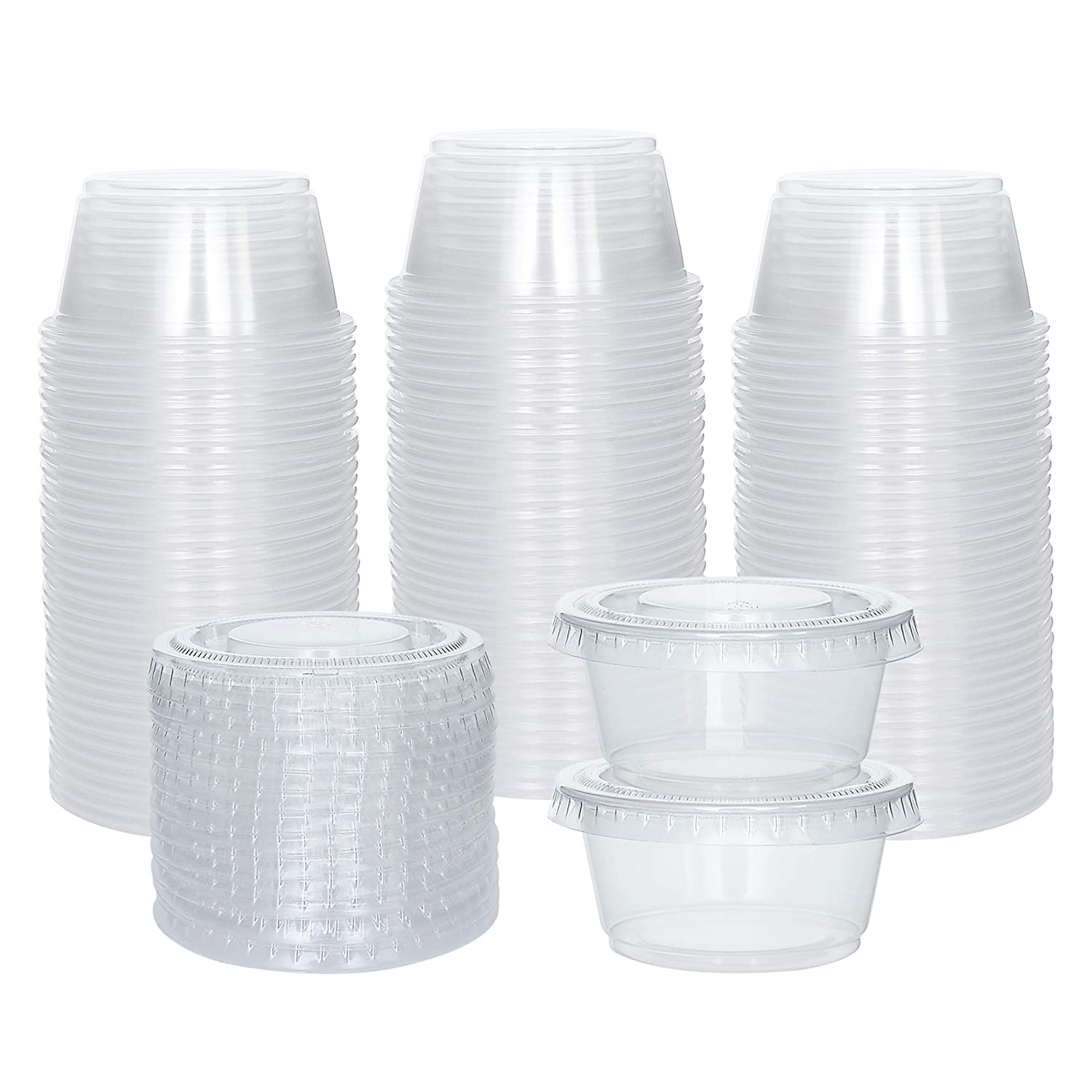 [100 Sets] 2 oz Small Plastic Containers with Lids, Jello Shot Cups with Lids, Disposable Portion Cups, Condiment Containers with Lids, Souffle Cups for Sauce and Dressing
