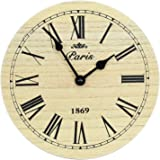 WOODEN RUSTIC PARIS CHIC N SHABBY ROUND WALL CLOCK ROMAN NUMERALS