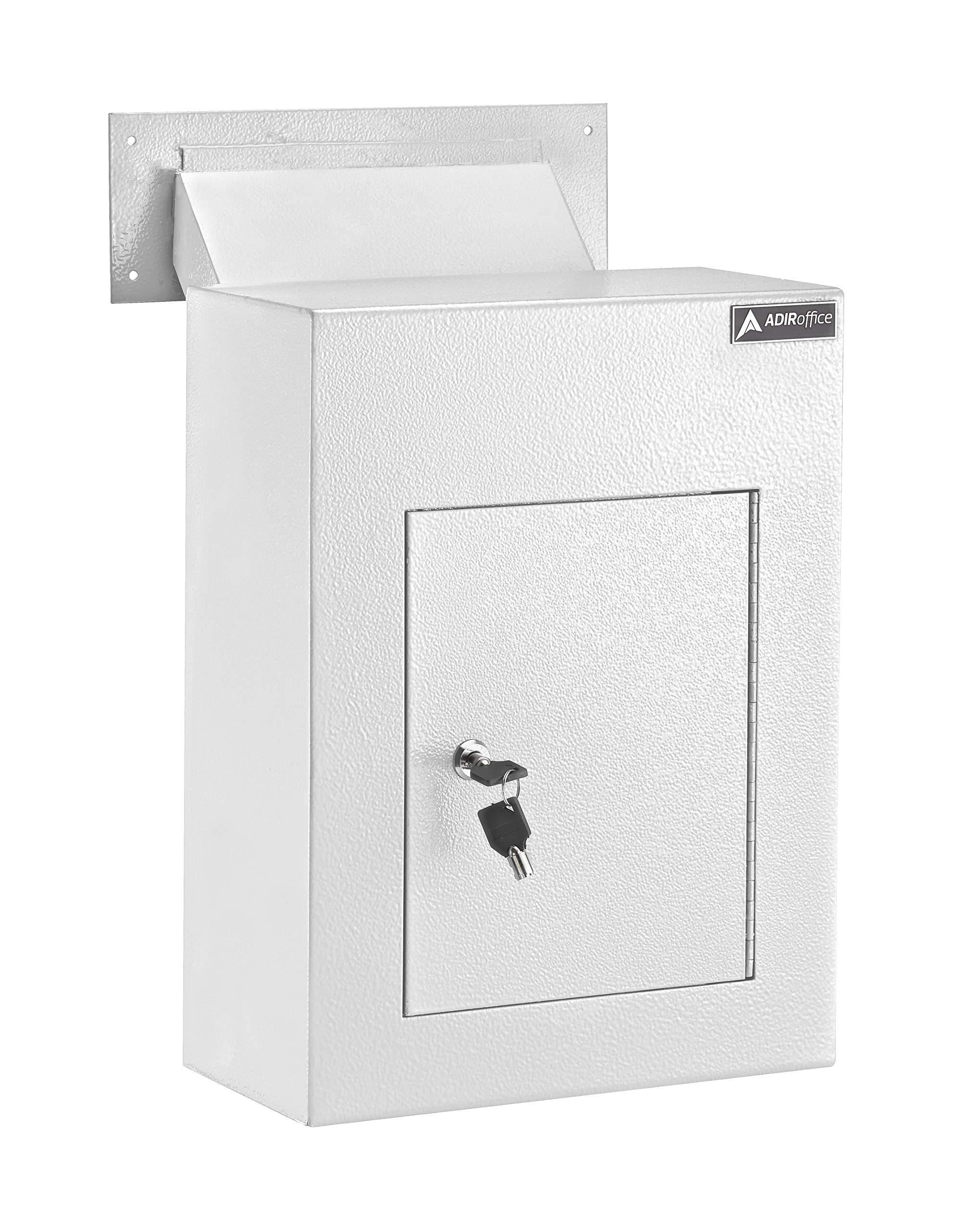 AdirOffice Through The Wall Drop Box Safe (Black/Grey/White) - Durable Thick Steel w/Adjustable Chute - Mail Vault for Home Office Hotel Apartment (White)