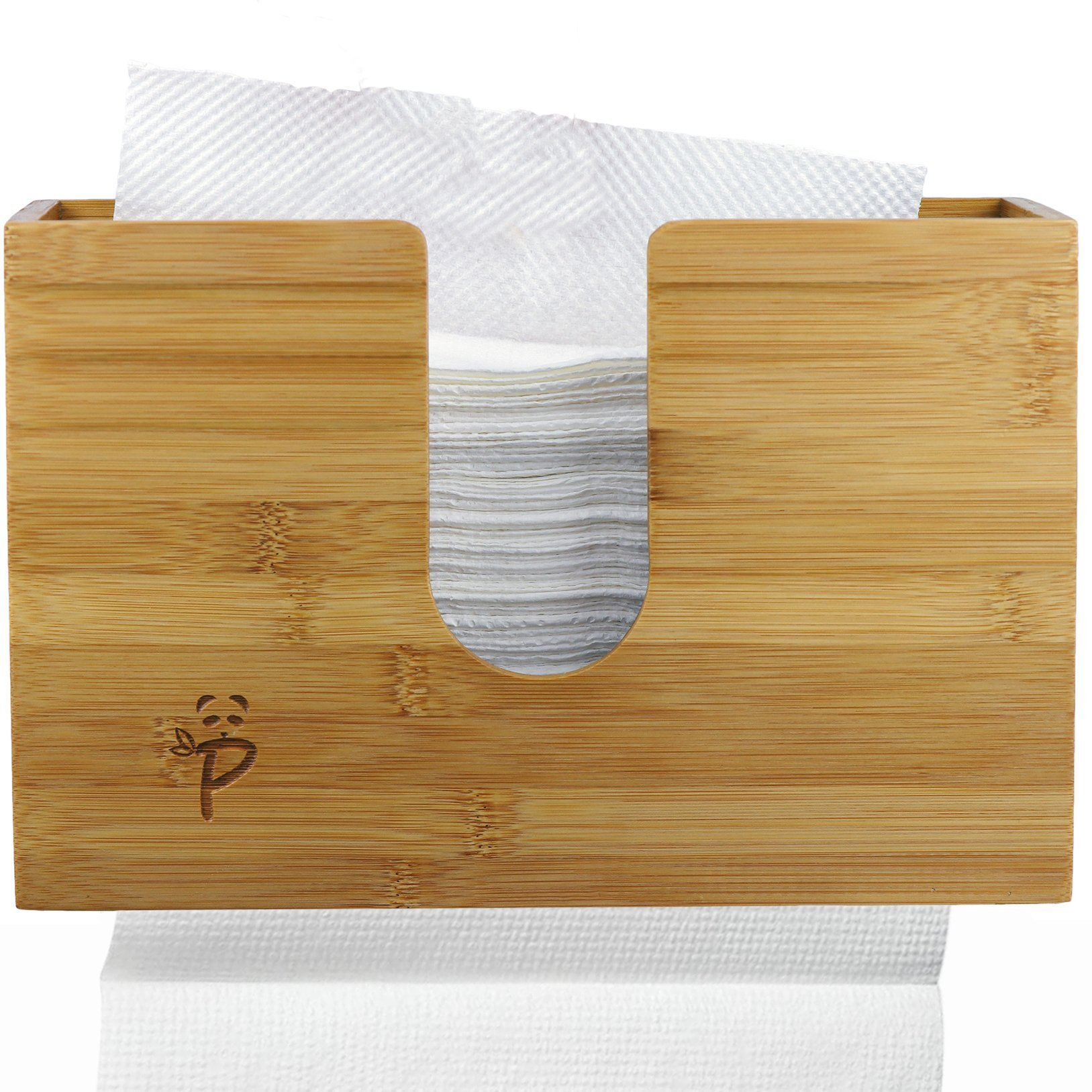 Paper Towel Dispenser Bamboo for Kitchen Bathroom Decor Wall Mount Or Countertop Paper Towel Holder for Multifold Paper Towels, Z fold, Trifold Hand Napkin Dual and Smooth Dispensing Beeswax Coated