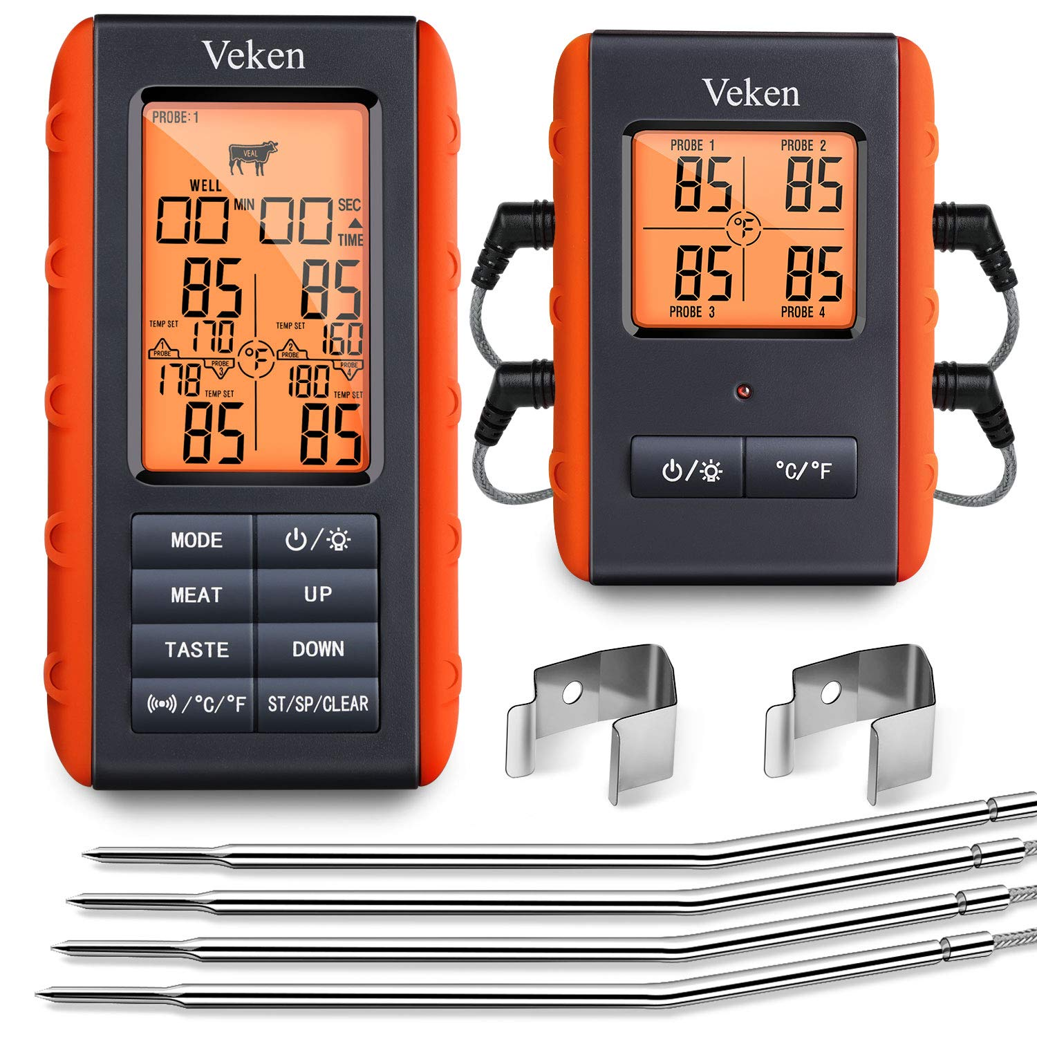 Veken BBQ Wireless Meat Grill Thermometer, 4 Probe Remote & Instant Read Digital Cooking Thermometer for Grilling, Waterproof Food Thermometer for Oven & Smoker & Roasting, 490 Feet