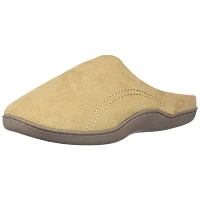Men's Indoor/Outdoor Slip-On Microsuede Memory Foam House Slippers, Size 7-8 – Double-Side Stitched Microsuede Exterior – Comfy Plush Micro Fleece Lining – Durable Non-Marking Rubber Sole, Beige: Health & Personal Care