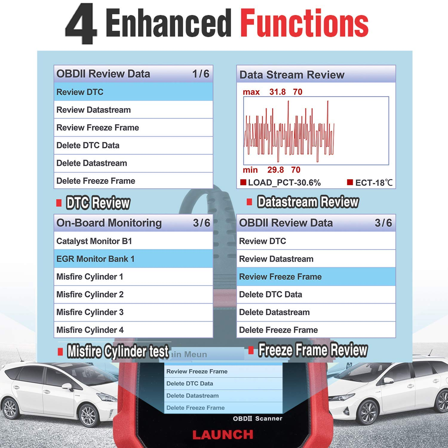 LAUNCH CRP3008 Creader 3008 Professional OBD2 Scanner Enhanced OBDII EOBD Code Reader, One-Key Check Engine Light I/M Readiness O2 Sensor Systems Battery Test Diagnostic Scan Tool-Free Update by LAUNCH (Image #6)