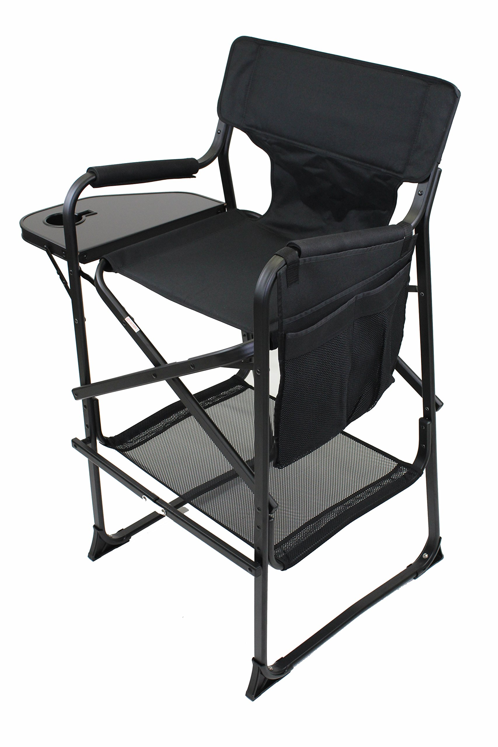 World Outdoor Products LIGHTWEIGHT PROFESSIONAL EDITION Tall Directors Chair Side Table with Cup Holder, Automatic Footrest and Side Bag by World Outdoor Products (Image #2)