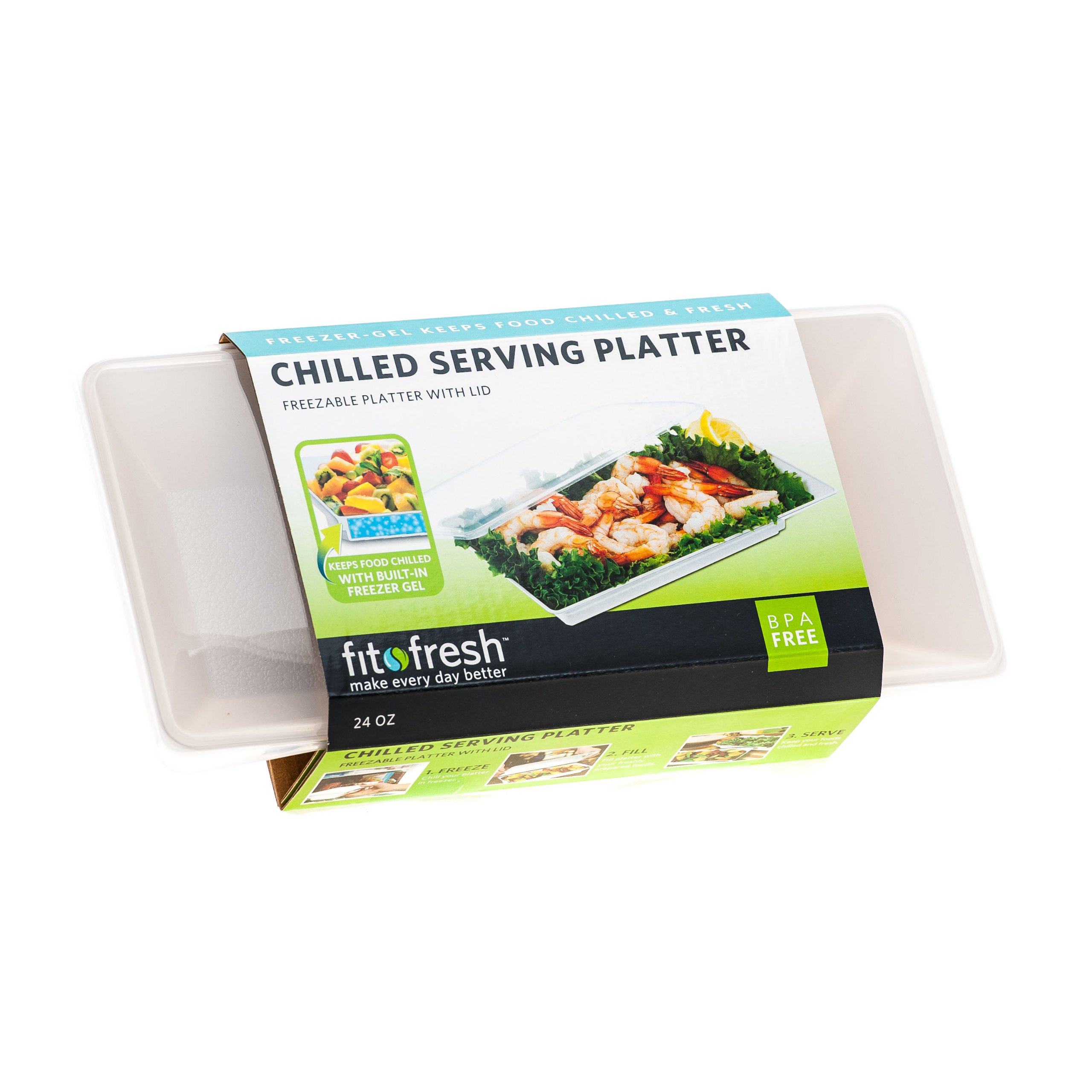 Fit & Fresh Chilled Serving Platter, 56-ounce Capacity Freezable Food Tray with Lid , BPA-Free, Freezer/Microwave Safe, Perfect for Party, Gathering, Food Storage by Fit & Fresh (Image #3)