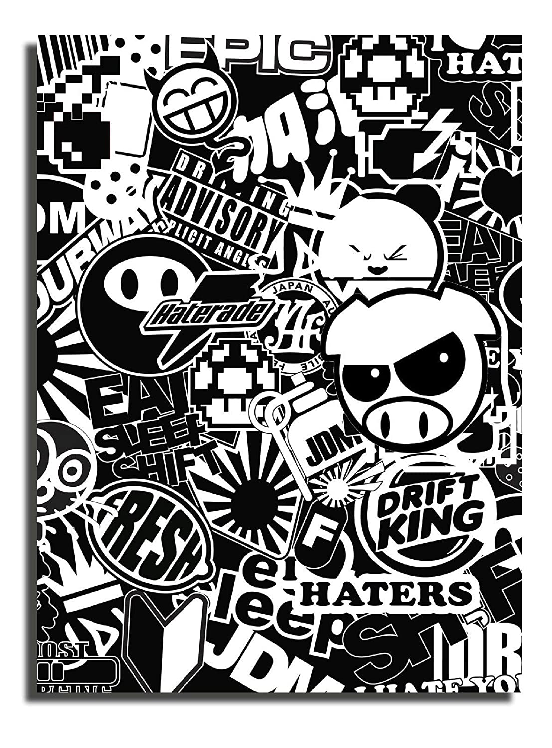 X1 jdm black and white sticker bomb wrap sheet vinyl d k 10 5 inches x 7 5 inches by owntheavenue amazon co uk kitchen home
