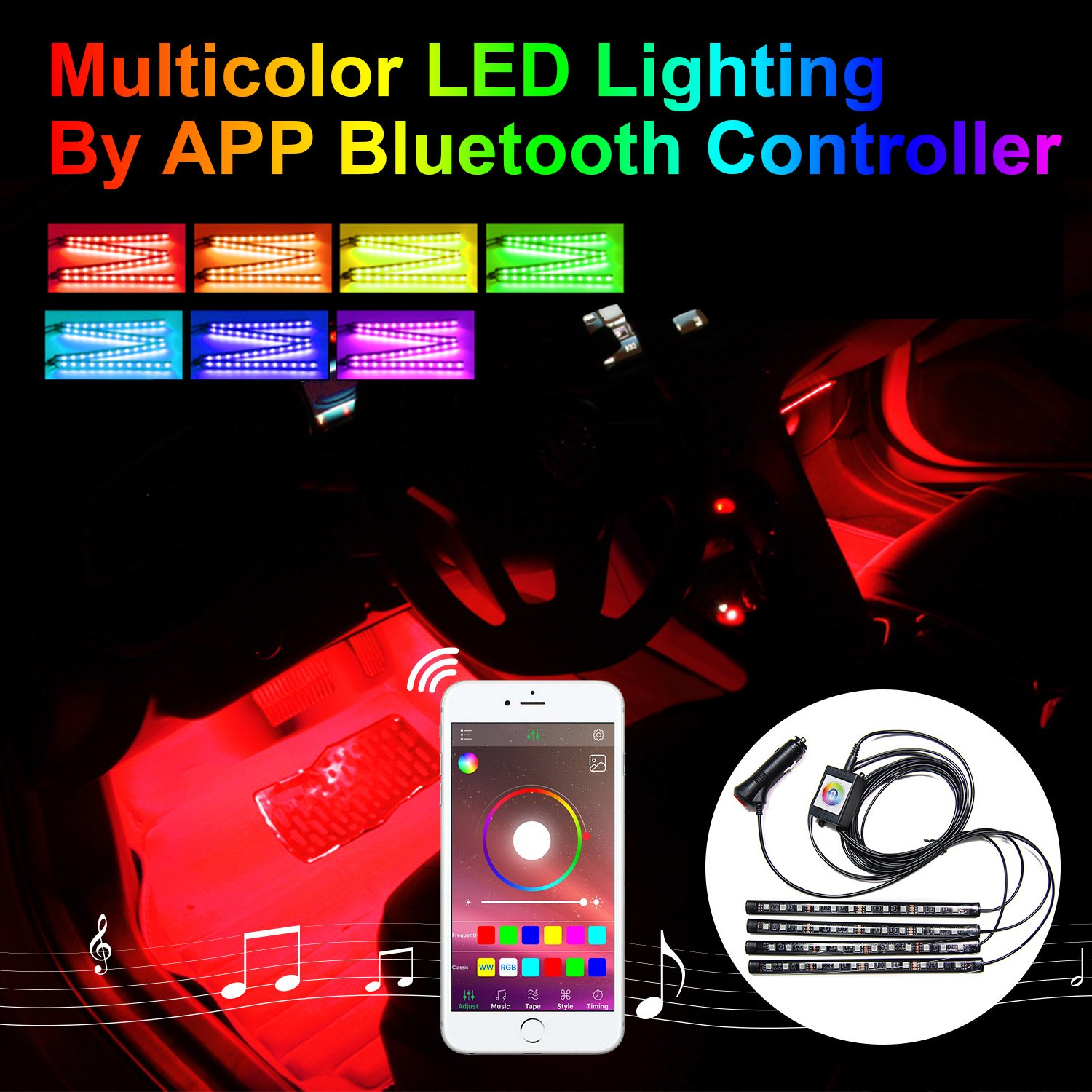 Amazon Addmotor 4pcs RGB LED Car Interior Underdash Lighting Kit Atmosphere Neon Lights Strip Multi Color Music Sync Light Kit For Jeep SUV Trucks