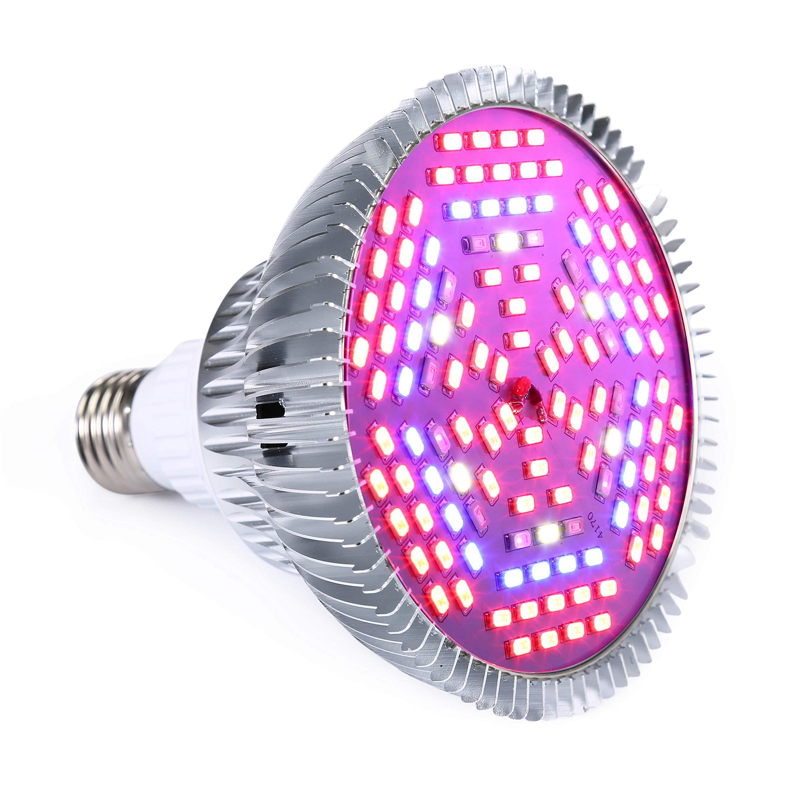 Led Grow Light Bulb E26 Full Spectrum Plant Growing Lights for Indoor Plants Garden Greenhouse 80W 120 LEDs
