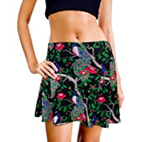 XrSzChic Womens Tennis Golf Athletic Exercise Printed Skirt Skorts Short Pockets