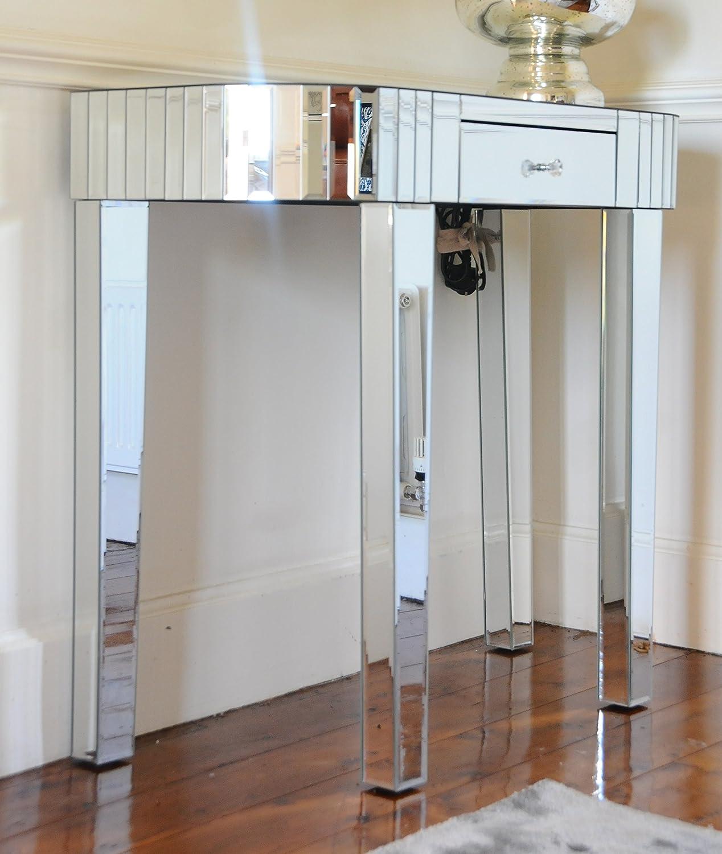 Konsolentisch / Schminktisch, Art-Déco-Stil, verspiegelt, Silberrand, mit einer Schublade