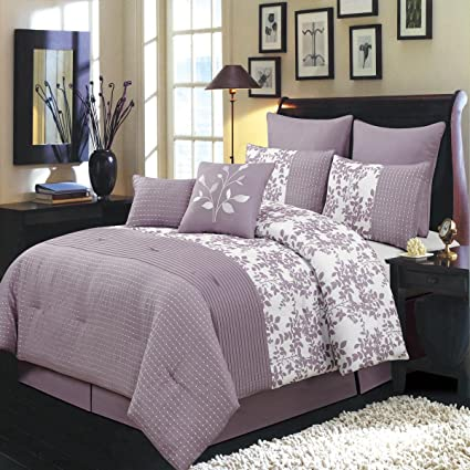 Bliss Purple And White Olympic Queen Size Luxury 8 Piece Comforter Set  Includes Comforter, Bed