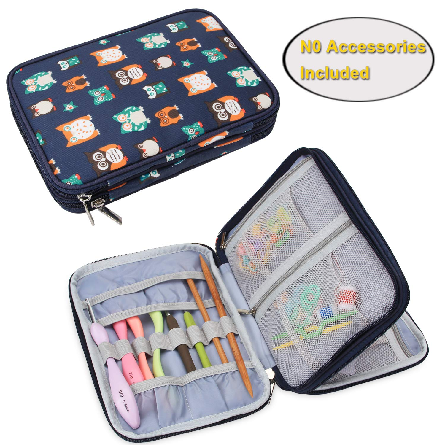 Teamoy Crochet Hook Case, Travel Storage Bag for Swing Crochet Hooks, Lighted Hooks, Needles(Up to 8'') and Accessories, Owls(No Accessories Included)