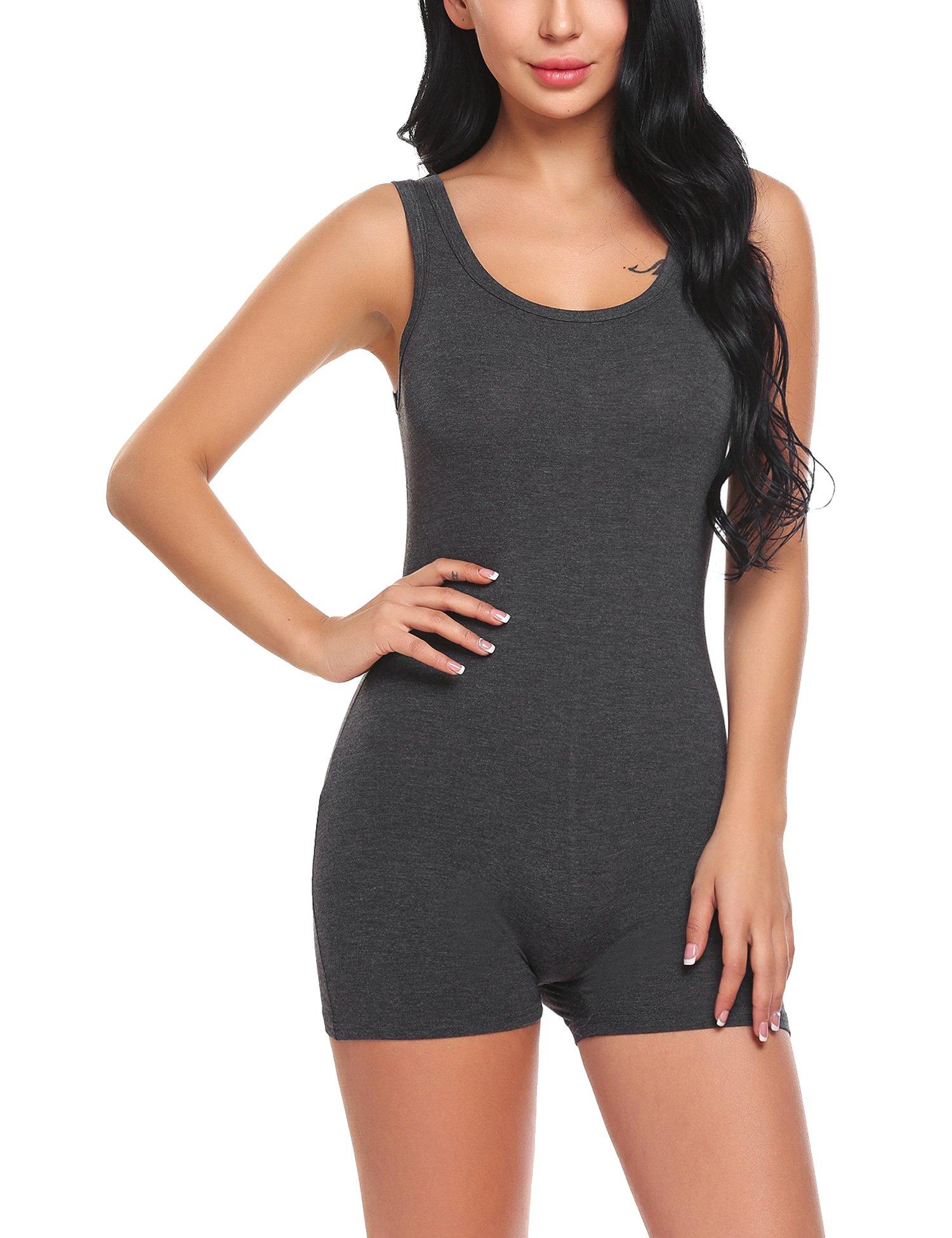 Ekouaer Women\'s Bodysuits Sexy Cotton Scoop-Neck Jumpsuits Sleeveless Tank Leotard
