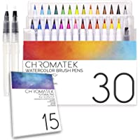 30 Watercolor Brush Pens, 15 Page Tutorial Pad and Online Video Series by Chromatek. Real Brush Tip. Vivid. Blendable…
